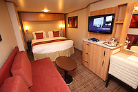 Celebrity Reflection departs on its preview sailing out of The Netherlands before beginning its European inaugural sailing on 12th October 2012 from Amsterdam..Interior Stateroom.