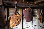 Ham in smokehouse. Conner Prairie Interactive History Park provides family-friendly fun for all ages in Fishers, Indiana, USA. Founded by pharmaceutical executive Eli Lilly in the 1930s, Conner Prairie living history museum now recreates life in Indiana in the 1800s on the White River and preserves the William Conner home (listed on the National Register of Historic Places).