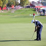 Ryder Cup 2016. Day Three. Phil Mickelson of the United States holes his putt on the eighteenth during his match with Sergio Garcia of Europe which was halved during the Sunday singles competition at  the Ryder Cup tournament at Hazeltine National Golf Club on October 02, 2016 in Chaska, Minnesota.  (Photo by Tim Clayton/Corbis via Getty Images)