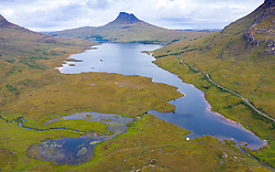 View towards Stac Pollaidh mountain from Loch Lurgainn in Inverpolly region of Sutherland , north west Scotland UK