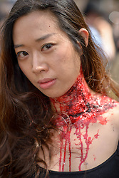 October 29, 2016 - Sydney, NSW, Australia - Participants dressed as zombies pose during the Sydney Zombie Walk. Hundreds of people gathered today dressed as zombies for the 6th edition of the Sydney Zombie Walk in support of 'The Brain Foundation' (Credit Image: © Hugh Peterswald/Pacific Press via ZUMA Wire)