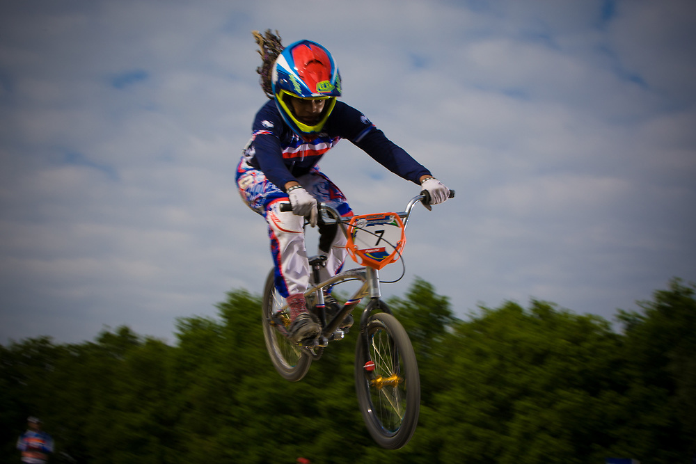 #7 (VALENTINO Manon) FRA at the UCI BMX Supercross World Cup in Papendal, Netherlands.