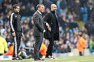 Celtic Manager Brendan Rogers and Manchester City Manager Josep Guardiola  during the Champions League match between Manchester City and Celtic at the Etihad Stadium, Manchester, England on 6 December 2016. Photo by Craig Galloway.