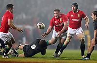 Rugby Union - 2017 British & Irish Lions Tour of New Zealand - Maori All Blacks vs. British & Irish Lions<br /> <br /> Tawera Kerr-Barlow of Maori All Blacks tries to hold back Tadhg Furlong of The British and Irish Lions at Rotorua International Stadium, Rotorua.<br /> <br /> COLORSPORT/LYNNE CAMERON