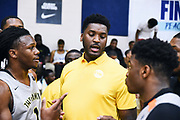 NORTH AUGUSTA, SC. July 10, 2019. Carlos Johnson 2020 #1 of THE FAMILY 17U during a timeout at Nike Peach Jam in North Augusta, SC. <br /> NOTE TO USER: Mandatory Copyright Notice: Photo by Alex Woodhouse / Jon Lopez Creative / Nike