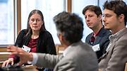 Photography ©Mara Lavitt<br /> New Haven, CT<br /> December 1, 2017<br /> <br /> Yale Day of Data 2017 at Kroon Hall. Participants from left Holly Rushmeier, professor, Yale Dept. of Computer Science; moderator Kiran Keshav; Yale professor Elihu Rubin; Mark Abraham.