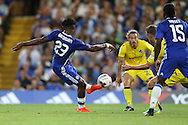 Michy Batshuayi of Chelsea shoots to score his sides 1st goal of the match to make it 1-0. EFL Cup 2nd round match, Chelsea v Bristol Rovers at Stamford Bridge in London on Tuesday 23rd August 2016.<br /> pic by John Patrick Fletcher, Andrew Orchard sports photography.