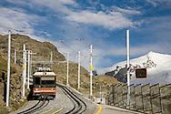 Gornergrat tourist train at Rotenboden station, nr Zermatt, Switzerland