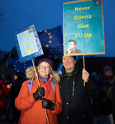 "Edinburgh, Scotland, UK. 31 January, 2020. On Brexit night hundreds of anti Brexit and pro Scottish Independence protesters gathered at the Scottish Parliament at Holyrood for ""Missing EU Already"" demo and to listen to speeches and demonstrate support for the European Union. Iain Masterton/Alamy Live News."