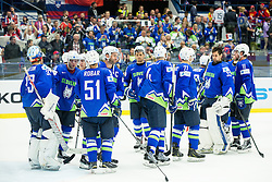Robert Kristan of Slovenia, Rok Ticar of Slovenia, Tomaz Razingar of Slovenia and other players of Slovenia look dejected after the Ice Hockey match between Slovenia and USA at Day 10 in Group B of 2015 IIHF World Championship, on May 10, 2015 in CEZ Arena, Ostrava, Czech Republic. Photo by Vid Ponikvar / Sportida