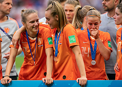 07-07-2019 FRA: Final USA - Netherlands, Lyon<br /> FIFA Women's World Cup France final match between United States of America and Netherlands at Parc Olympique Lyonnais. USA won 2-0 / Vivianne Miedema #9 of the Netherlands, Jill Roord #19 of the Netherlands, Jackie Groenen #14 of the Netherlands
