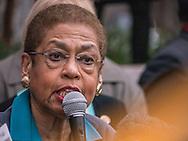 Congresswoman Eleanor Norton addresses union activists at Smithsonian building