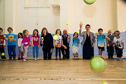 Pictured: Alison Johnstone, Partick Harvie and Maggie Chapman joined in the fun with the children attending the North Merchiston Community Centre.<br /> <br /> Patrick Harvie, Co-Convenor of the Scottish Green Party met children at the Enjoy-a-Ball Holiday camp taking place at the North Merchiston Community Centre ahead of Tuesday's TV debate. Mr Harvie was joined by fellow MSP candidates Andy Wightman, Local Government Spokesperson, Maggie Chapman, Co-convener and Alison Johnston candiate for Lothian to present taxation proposals and answer questions.<br /> <br /> Ger Harley   EEm 29 March 2016