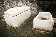 Sarcophagi from 9th century Croatian cemetery, Skradin, Dalmatia, Croatia