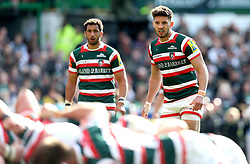 Owen Williams of Leicester Tigers and Maxime Mermoz of Leicester Tigers - Mandatory by-line: Robbie Stephenson/JMP - 15/04/2017 - RUGBY - Welford Road - Leicester, England - Leicester Tigers v Newcastle Falcons - Aviva Premiership