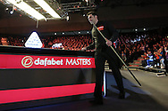 Ronnie O'Sullivan (Eng) has his eye on the trophy as he walks to the table for the start of the match.  Ronnie O'Sullivan (Eng) v Neil Robertson (Aus), Quarter-Final match at the Dafabet Masters Snooker 2017, at Alexandra Palace in London on Thursday 19th January 2017.<br /> pic by John Patrick Fletcher, Andrew Orchard sports photography.