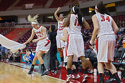 03 January 2014:  Katy Winge, Alison Seberger, Stekara Hall, and Kalyn Gebhardt rally at the bench after Alexis Foley buries her fourth three point shot in a row during an NCAA women's basketball game between the Drake Bulldogs and the Illinois Sate Redbirds at Redbird Arena in Normal IL