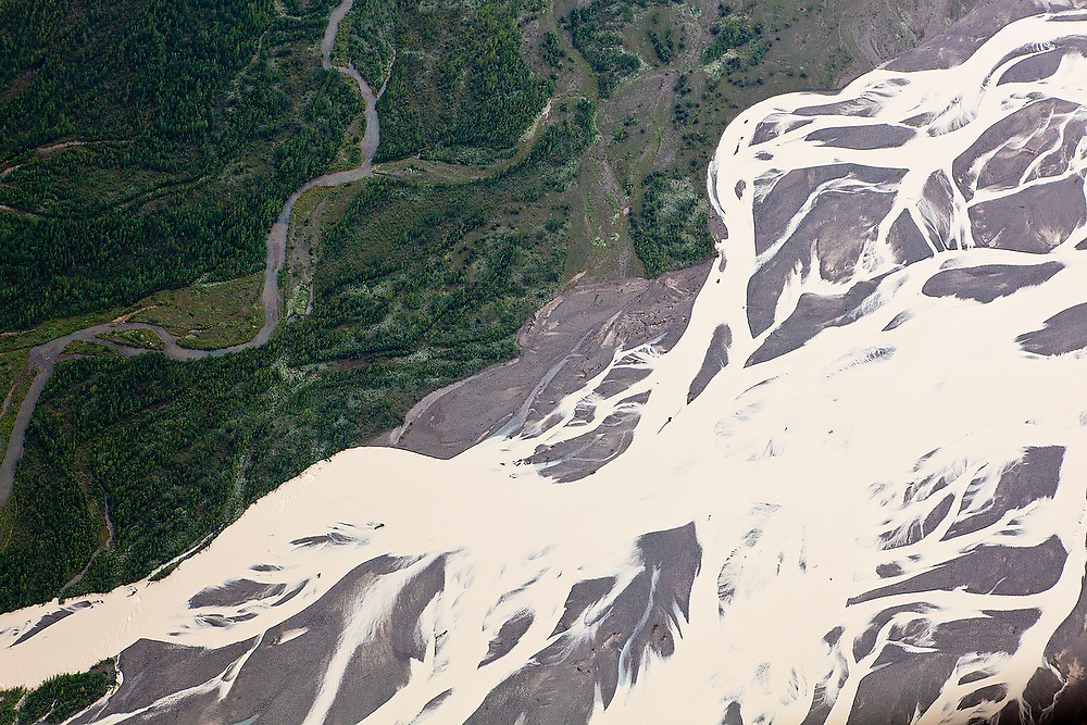 Aerial view of the braids of the Nizina River in Wrangell-St. Elias National Park, Alaska.