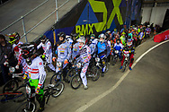Mens B batch practice on Day 1of the 2014 UCI BMX Supercross World Cup in Manchester.