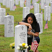 Idalia Gonzalez kneels beside the grave of her son, Spc. Alex Gonzalez, following a Memorial Day service Monday, May 29, 2017 at the Rio Grande Valley State Veterans Cemetery in Mission. Spc. Gonzalez died while serving with the U.S. Army in Iraq in May of 2008. Nathan Lambrecht/The Monitor