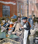Students giving their time to act as waiters in a Paris soup kitchen. From 'Le Petit Journal', Paris, 5 February 1894.  France,  Charity, Food, Poverty, Hunger