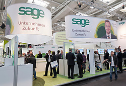 Sage software company stall at CeBIT 2011 digital and electronics trade fair in Hannover March 2011 Germany