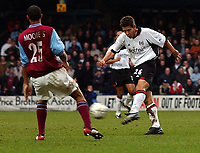 Photo. Javier Garcia<br />08/02/2003 Fulham v Aston Villa, FA Barclaycard Premiership, Loftus Road<br />John Harley makes it 2-1 with this long distance shot