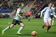 Janice Cayman (Belgium) fires the ball into the England penalty box during the Euro 2017 qualifier between England Ladies and Belgium Ladies at the New York Stadium, Rotherham, England on 8 April 2016. Photo by Mark P Doherty.