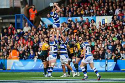 Bath Flanker Francois Louw wins a lineout - mandatory by-line: Rogan Thomson/JMP - Tel: 07966 386802 - 23/05/2014 - SPORT - RUGBY UNION - Cardiff Arms Park, Wales - Bath Rugby v Northampton Saints - Amlin Challenge Cup Final.