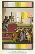 Magic lantern being used to project slides during a lecture on spectrum analysis at the Royal Polytechnic Institution, London. From John Henry Pepper 'Cyclopaedic Science Simplified', London, 1873. Chromolithograph.