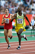 Michael Blackwood of Jamaica wins second-round heat of the 400 meters in the IAAF World Championships in Athletics at Stade de France on Sunday, Aug, 24, 2003.
