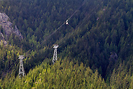 The Grouse Mountain Skyride and towers on the side of Grouse Mountain.  Photographed from Cleveland Dam in Capilano River Regional Park, North Vancouver, British Columbia, Canada