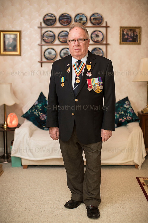 Mcc0081223 . Daily Telegraph<br /> <br /> Korean Veteran's Project<br /> <br /> Alan Guy 85 yrs, served in the RAMC 10 field hygiene section Jan 52 -Sep 53, photographed at his home in Byfleet .