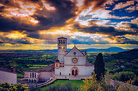 """Explosion of light over the Papal Basilica of St. Francis of Assisi""...<br />