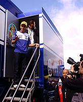 20080413: ESTORIL, PORTUGAL - Moto GP 2008 - Portugal Grand Prix. In picture Roger Federer with Valentino Rossi visit circuit. <br /> PHOTO: Alexandre Pona/CITYFILES