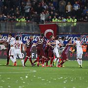 Galatasaray's goalkeeper Nestor Fernando Muslera and Wesley Sneijder during their Turkish SuperLeague Derby match Trabzonspor between Galatasaray at the Avni Aker Stadium at Trabzon Turkey on Sunday, 19 April 2015. Photo by TVPN/TURKPIX