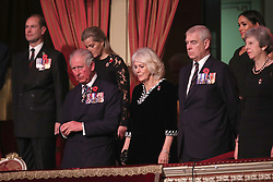 The Earl of Wessex, Sophie, Countess of Wessex, Prince of Wales, Duchess of Cornwall, Duke of York, Duchess of Sussex and Prime Minister Theresa May, attend the annual Royal British Legion Festival of Remembrance at the Royal Albert Hall in London, which commemorates and honours all those who have lost their lives in conflicts.