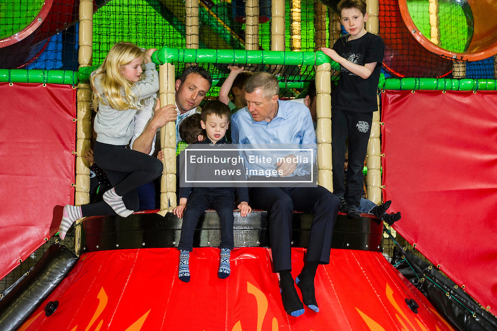 Pictured: Willie Rennie and Alex Cole-Hamilton try to organise a safe slide/<br /> <br /> Candidates and their children joined Scottish Liberal Democrat leader Willie Rennie today as he unveiled his party's bold, positive and progressive plans to make Scotland the best again as he launched the Scottish Liberal Democrat manifesto.Mr Rennie was joined by some of the Scottish Liberal Democrat candidates standing for election in May as he set out ambitious proposals for a transformational investment in education, a step-change in mental health services, the protection of our environment and guaranteeing Scots' civil liberties.<br /> <br /> Ger Harley   EEm 15 April 2016