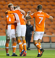 Blackpool's Kelvin Mellor celebrates scoring his side's first goal with teammates Sean Longstaff, Oliver Turton and Kyle Vassell<br /> <br /> Photographer Alex Dodd/CameraSport<br /> <br /> The EFL Sky Bet League One - Blackpool v Bury - Tuesday 17th October 2017 - Bloomfield Road - Blackpool<br /> <br /> World Copyright © 2017 CameraSport. All rights reserved. 43 Linden Ave. Countesthorpe. Leicester. England. LE8 5PG - Tel: +44 (0) 116 277 4147 - admin@camerasport.com - www.camerasport.com