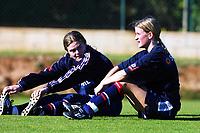 Football, La Manga  Spania, 8 januar 2000. Norsk kvinnelandslaget i fotball. Dagny Mellgren, (t.v.) Boston, og Ingrid Camilla Fosse Sæthre, Bjørnar.