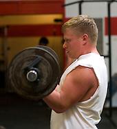 11/7/07 Smith Center, KS.Collin Duntz in the weight room at Smith Center High School...(Chris Machian/Prairie Pixel Group)