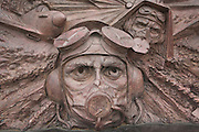Battle of Britain monument on the Embankment, London, England. Detail of pilot's face.