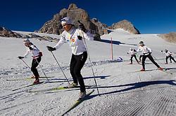 Vesna Fabjan and Katja Visnar during Training camp of Slovenian Cross country Ski team on October 23, 2012 in Dachstein Getscher, Austria. (Photo By Vid Ponikvar / Sportida)