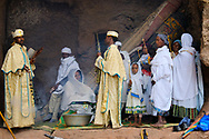 Celebration of an Orthodox baptism in the complex of the Bet Maryam church in Lalibela