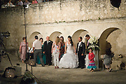 Cyprus, Lysos, A typical Cypriot Greek wedding in the town square all are invited. Three thousand people from the village and near by villages were expected. The newlywed couple welcoming the guests .