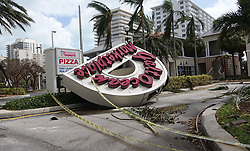 September 11, 2017 - Fort Lauderdale, FL, USA - A sign brought down by the winds of Hurricane Irma in Fort Lauderdale, Fla. is seen on Monday, Sept. 11, 2017. (Credit Image: © Joe Cavaretta/TNS via ZUMA Wire)