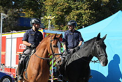 October 4, 2018 - Munich, Bavaria, Germany - Two police officers on horses. The Bavarian Minister of Interiour Joachim Herrmann, the Bavarian Minister of Justice Winfreid Bausback, the German State Secretary of Interiour Stephan Mayer and the Minister of Interiour of Baden-Wuerttemberg Thomas Strobl visited the police station, the fire deartment and the ambulance of the Oktoberfest. Afterwards they went to the Hackerzelt to drink a beer and eat. (Credit Image: © Alexander Pohl/NurPhoto/ZUMA Press)
