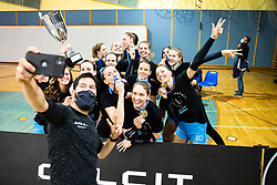 Uros Bitenc takes a selfie with team Calcit Volley after 3rd Leg Volleyball match between Calcit Volley and Nova KBM Maribor in Final of 1. DOL League 2020/21, on April 17, 2021 in Sportna dvorana, Kamnik, Slovenia. Photo by Matic Klansek Velej / Sportida