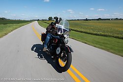 Terry Richardson riding his 1932 Harley-Davidson VL during Stage 4 of the Motorcycle Cannonball Cross-Country Endurance Run, which on this day ran from Chatanooga to Clarksville, TN., USA. Monday, September 8, 2014.  Photography ©2014 Michael Lichter.