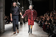 Andreas Kronthaler with Vivienne Westwood on the catwalk   for Vivienne Westwood Gold Lable AW16 catwalk at Paris Fashion Week March 5th 2016.<br /> <br /> Photo Ki Price